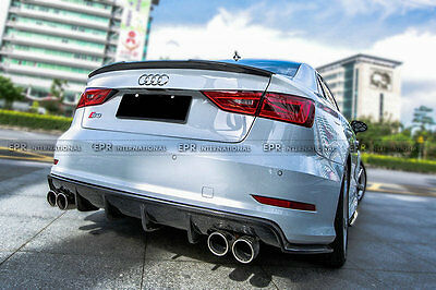 For Audi S3 Sedan MX Style Rear Bumper Diffuser lip Racing Kits Carbon Fiber