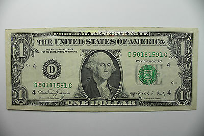 1 US dollar Note 1988 series  A   C. 4 (D)