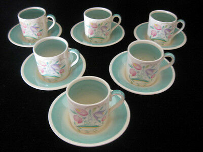 Susie Cooper 'Dresden Spray' Green Set of 6 x Coffee Cans & Saucers