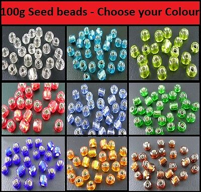 B0317-8//0 100g of Green Silver Lined Glass Seed Beads
