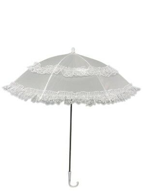 Jane Fancy Dress Costume Tarzan Victorian White Lace Parasol Umbrella Accessory