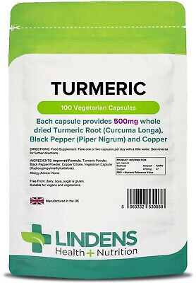 Turmeric 500mg -Whole Root 100 Capsules, Anti-inflammatory,Antioxidant (LINDENS)