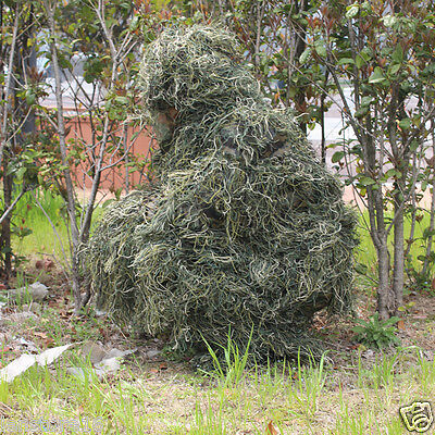Green Grass Ghillie Suit Camouflage Tactical Hunting Clothing Sniper Airsoft CS