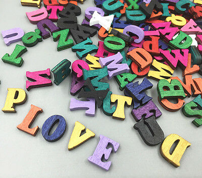 100X Random Mixed Wooden Embellishments Letters Scrapbooking Crafts 15mm