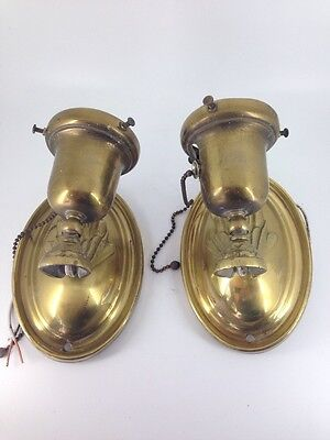 Antique Pair Of Brass Wall Sconces W/ Hand Cut Shades