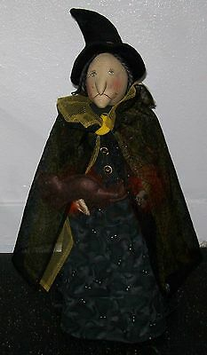 """Collectible 20"""" Primitive Witch With Cat Halloween Doll Greeter Decoration"""