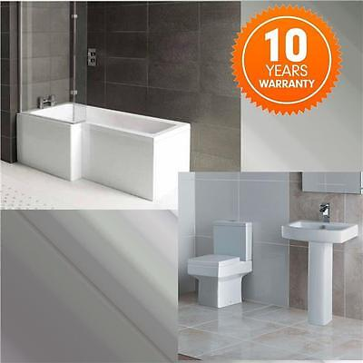 L-Shape Bathroom suite with Square Toilet & Sink ShowerBath + Screen + Panel