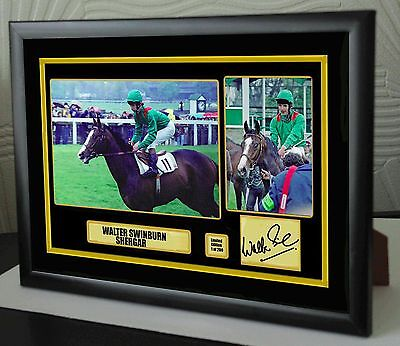 "Walter Swinburn Shergar Ltd Ed Framed Canvas Tribute Print Signed ""Great Gift"""