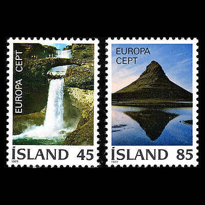 "Iceland 1977 - Europa stamps ""Nature & Mountains"" Landscape - Sc 498/9 MNH"