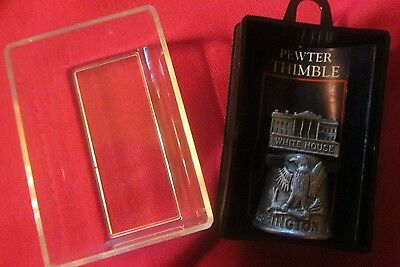 Pewter Thimble--The White House--New In Original Box--Detailed And Heavy