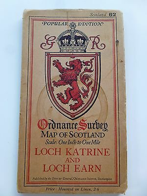 Ordnance Survey Map - Loch Katrine And Loch Earn - 1933