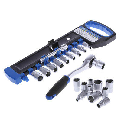 "1/4"" Ratchet Wrench Kit Chrome Steel Socket Wrench + Extension Rod + 10 Sockets"