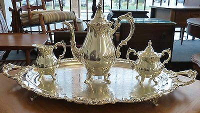 Baroque By Wallace 4 Pc Silver Plate Tea Set