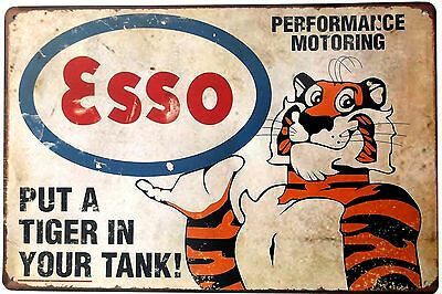 TONY THE TIGER ESSO  METAL TIN PLATE SIGN vintage cafe pub bar retro plaque