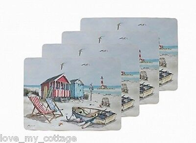 SET of 4 Sandy Bay PLACEMATS Beach Hut Nautical Seaside Home Decor Boxed Gift