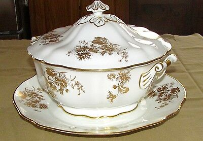 HAMMERSLEY  Gold and Ivory coloured SOUP TUREEN AND PLATE