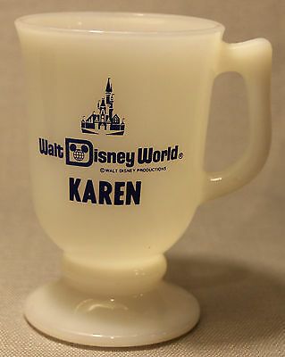 "Vintage Walt Disney World ""Karen"" Personalized Name White Milk Glass Mug Cup !"