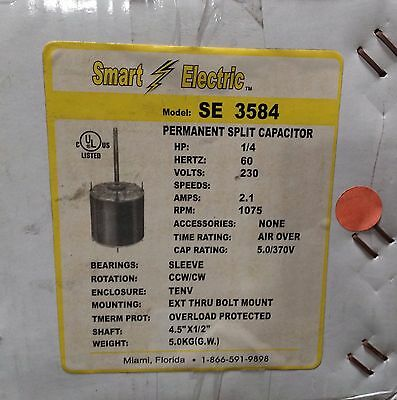 ~Discount HVAC~SE3584-Smart Electric Blower Motor 1/4HP 230V 2.1A 1075RPM CW CCW