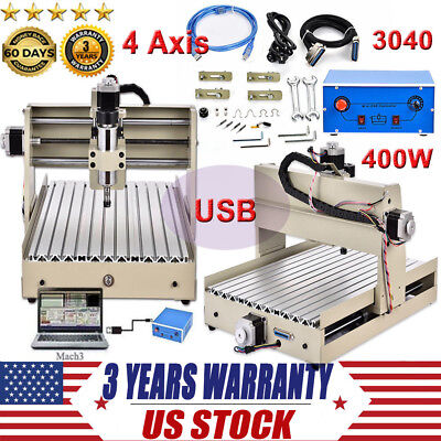 DIY 4 Axis CNC 3040 Mill Router Kit USB Desktop Metal Engraver Milling Machine