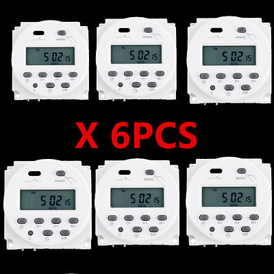 6pcs LCD Digital Power Programmable Timer AC 12V 16A Time Relay Switch US Seller
