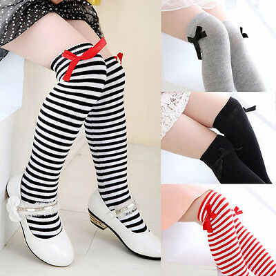 Girls Soft Cotton Knee Socks Kids Children Baby Bowknot Striped Leg Warmers
