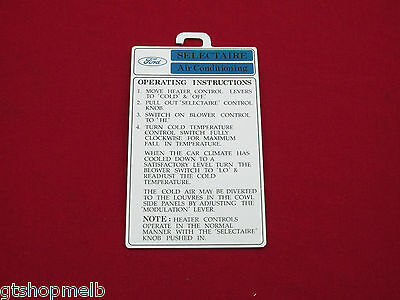 Ford Zc Zd Xw Xy Gt Ho Gs A/c Air Conditioned Selectaire Display Tag 351 302 New