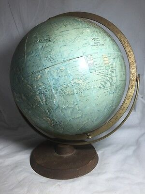 Antique/vintage - Readers Digest - Extra Large 12Inch World Globe Metal/wood