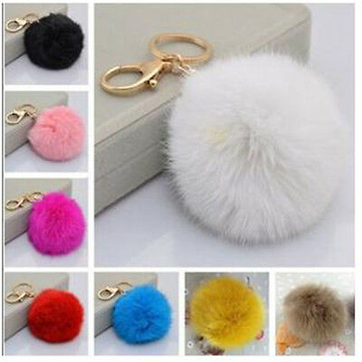 New Real Rabbit Fur Key Ring Car Keychain Mobile Phone Tag Charm Bag Accessories