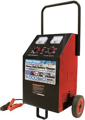 Streetwize 200/40/10/2A 12&24V Garage Portable Automatic Wheeled Battery Charger