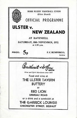1972 - Ulster v New Zealand, Touring Match Programme.