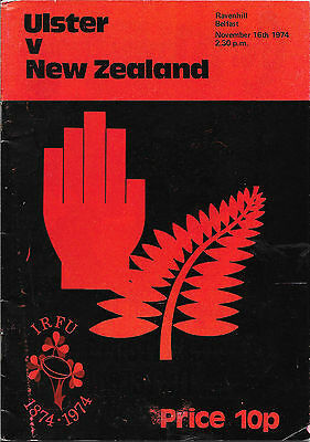 1974 - Ulster v New Zealand, Touring Match Programme.