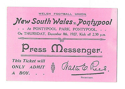 1927 - Pontypool v New South Wales, 'Press Messenger' Match Ticket.