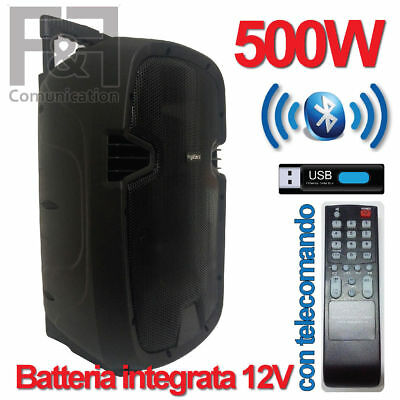 Cassa Speaker Bluetooth Portatile Potenza 500W Ricaricabile Usb Sd Canto Audio