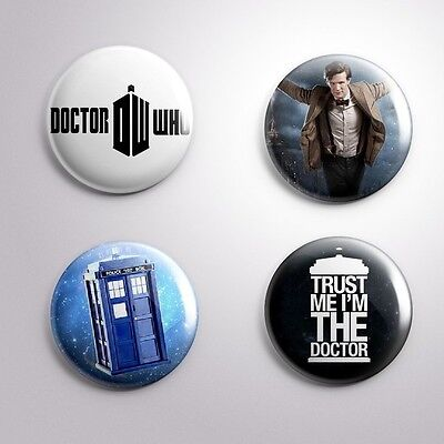 4 DOCTOR WHO TV SCIENCE -FICTION - Pinbacks Badge Button Pin 25mm 1''
