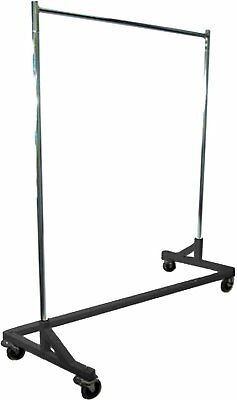 5' Foot Adjustable Height Commercial Single-Rail Rolling Z Rack Chrome & Black