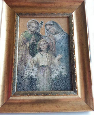 Holy Family Picture Made of Sand & Soil from the Holy Land - Rare in the U.S.
