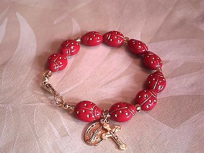"""Lady Bug Red Rosary Bracelet, Made in the U.S., Wrist Size 7"""","""