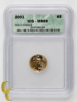 2001 1/10 ounce $5 American Eagle Gold Coin MS-69 Graded by ICG Gold Bullion
