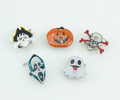 5x Flashing LED Halloween Badges Trick or Treat Kid's Party Ghost Pumpkin Pirate