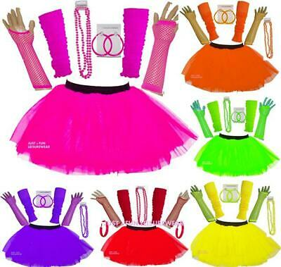 Neon Tutu Skirt Legwarmers Fishnet Gloves Earrings 80'S Fancy Dress Hen Party