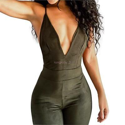 Women Sleeveless Bodycon Romper Bodysuit Halter Cross Clubwear Jumpsuit Playsuit