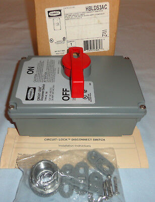 Hubbell HBLDS3AC Circuit-Lock 30A Dissconnect Switch NEW