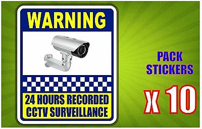 Warning 24 Hours Recorded CCTV Yellow Pack of (10) Sticker 200x240mm FREE POST