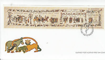 Alderney 2014 FDC Bayeux Tapestry Final Panel 1v S/S Cover Cotton Stamps