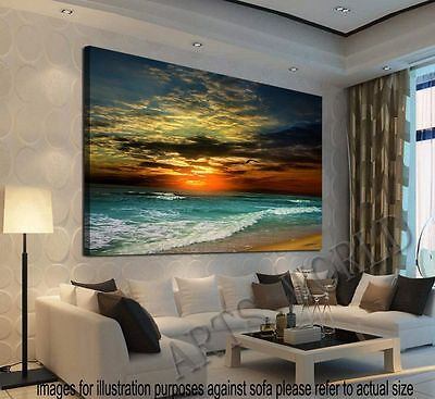 Ready to Hang Home Decor Framed Canvas Print Modern Wall Art Seascape picture