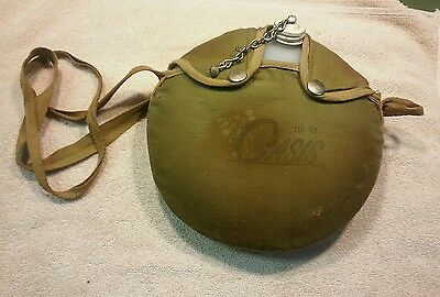 Oasis canteen mid 70's metal cap boy scouts gear green canvas cover