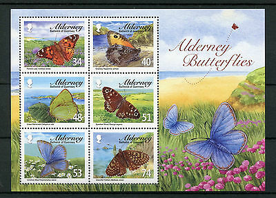 Alderney 2008 MNH Butterflies 6v M/S Painted Lady Grayling Insects Stamps