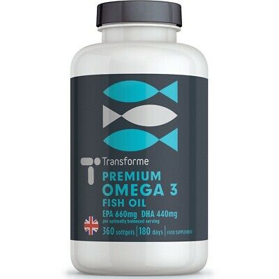 MAX OMEGA 3 FISH OIL 1000mg 90 180 360 Softgels Balanced EPA DHA - Transforme