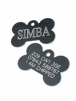 1 x Personalised Engraved Black coloured bone shaped pet tag