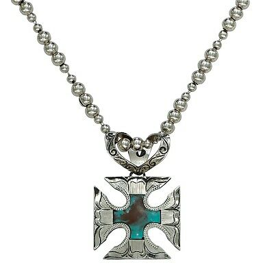Montana Silversmiths Blue Earth Antiqued Silver Cross Pattee Necklace
